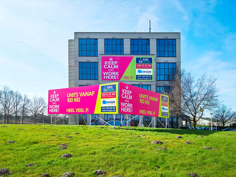 blindframe reclamebord staand v-vorm Image Building Den Haag
