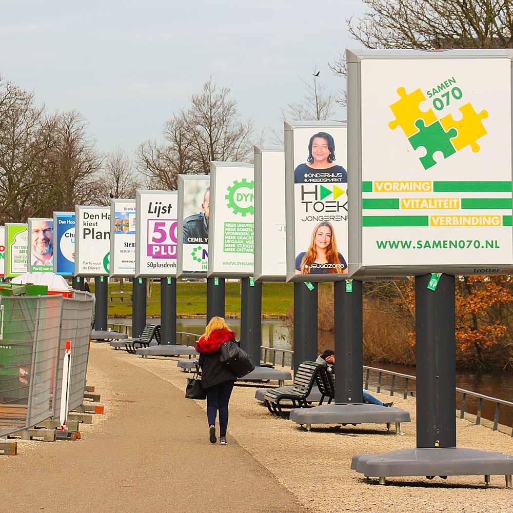 verkiezingsborden Den Haag verkiezingen in Nederland verkiezingsbord inspiratie de nieuwe generatie trotter