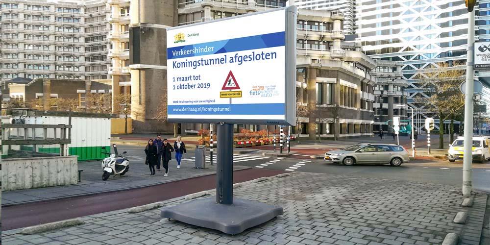Projectbord oost-nederland trotter wegwerkzaamheden