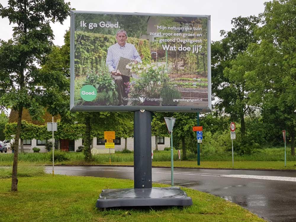 Duurzaamheidscampagne op Trotters overheid billboard verkiezingsbord