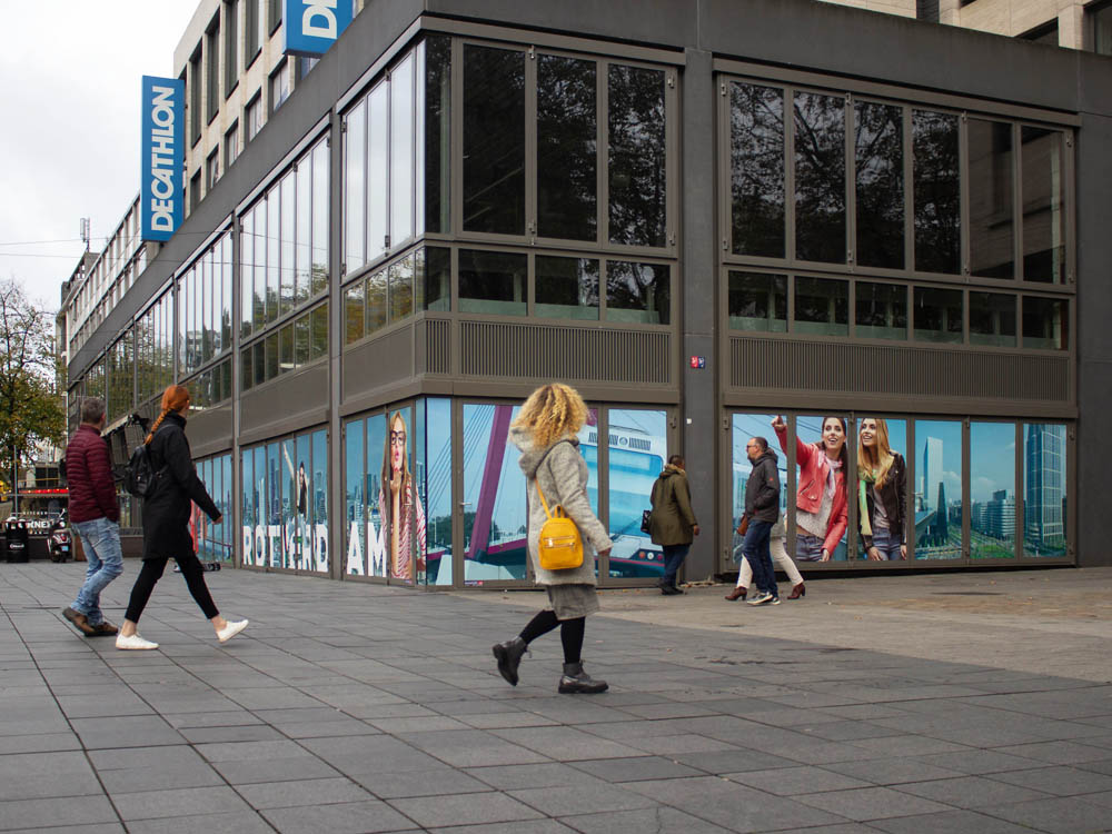 Citymarketing rotterdam raamfolie stickers raamstickers buitenreclame