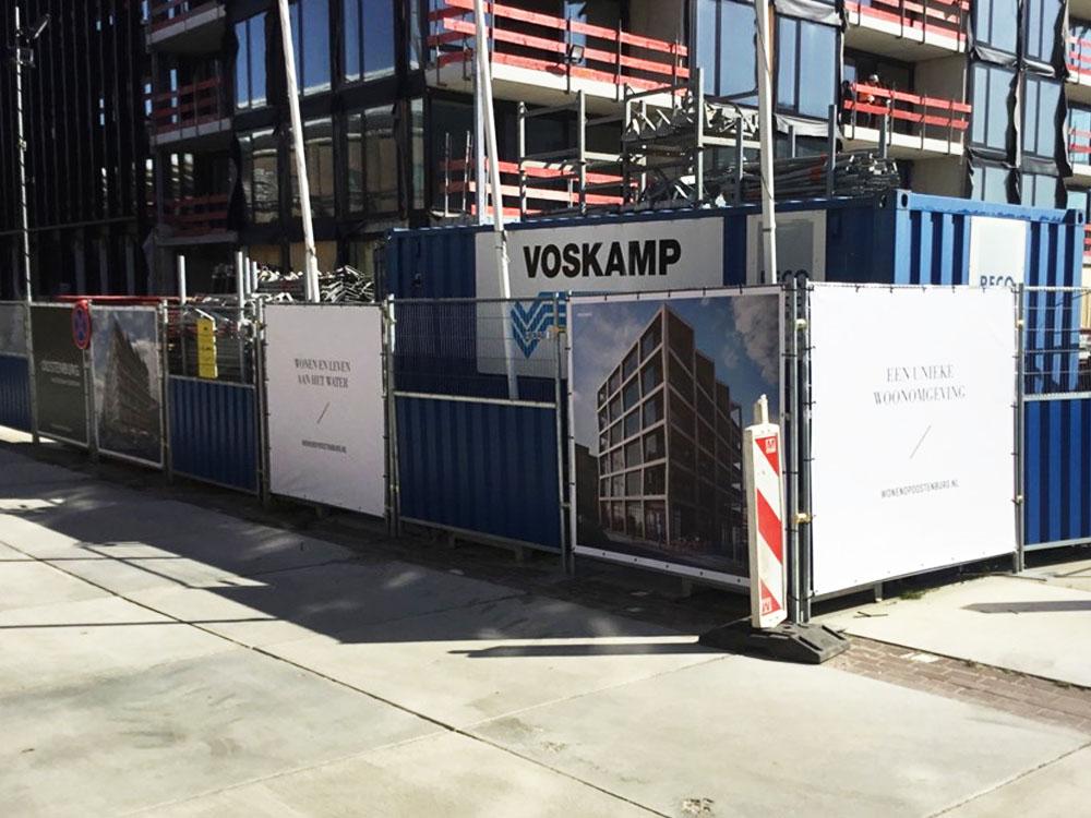 reclamedoeken bouwplaats Bouwhekdoeken eiland oostenburg image building