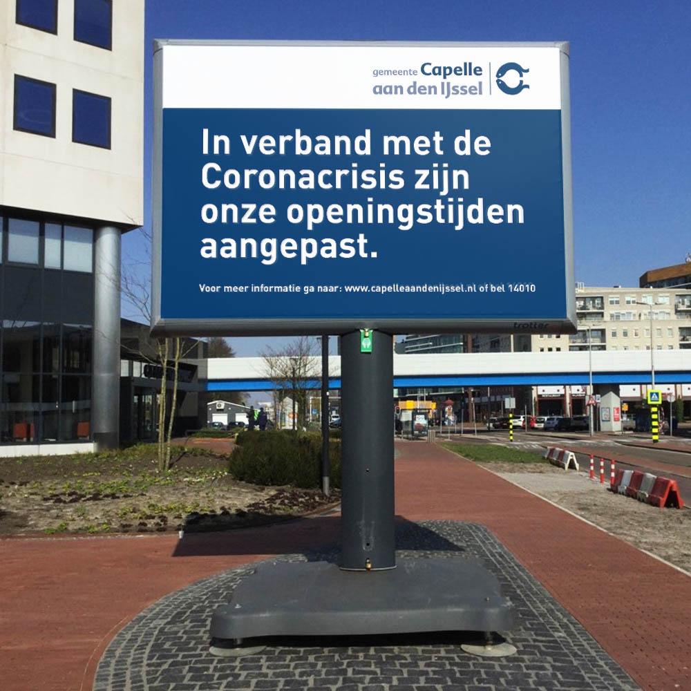 informatiebord coronacrisis informatieborden trotter trotterborden billboard 1000x1000