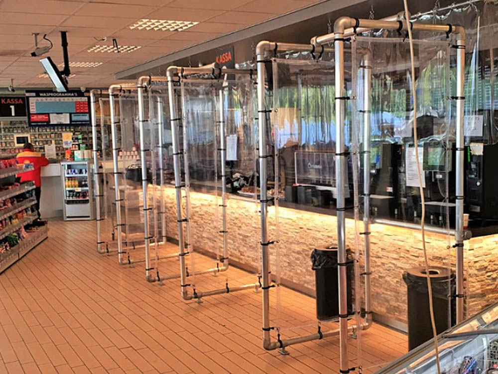 Transparante schermen spatscherm winkel kassa spatscherm anti-coronascherm Image Building