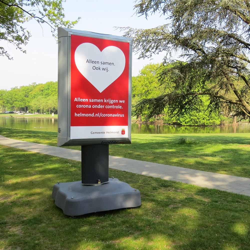 corona preventie gemeente helmond trotter billboard maatregelen 1000x1000 dienrenpark de warande Jan van Brabantlaan