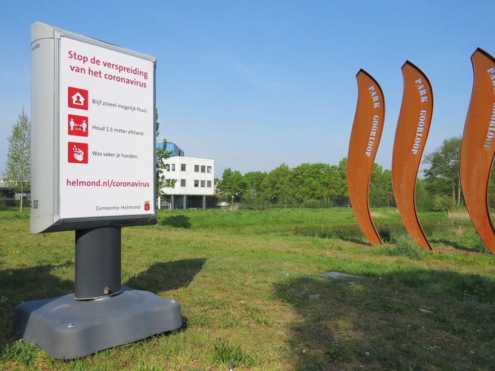 corona preventie gemeente helmond trotter billboard maatregelen park goorloop