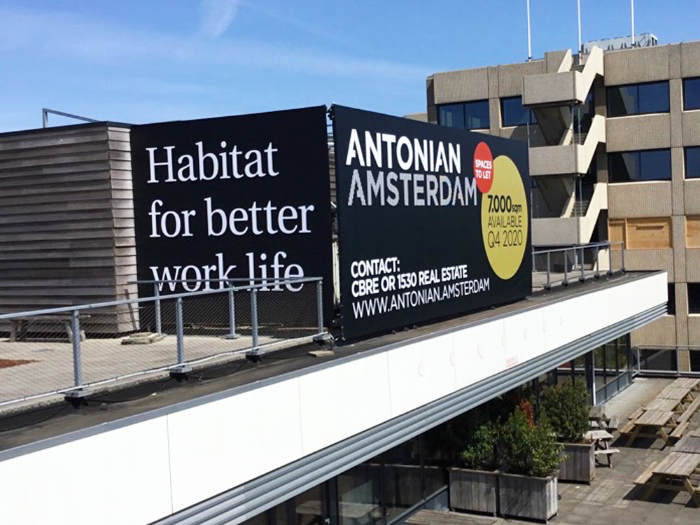 Geveldoeken als verhuurborden antonian amsterdam image building