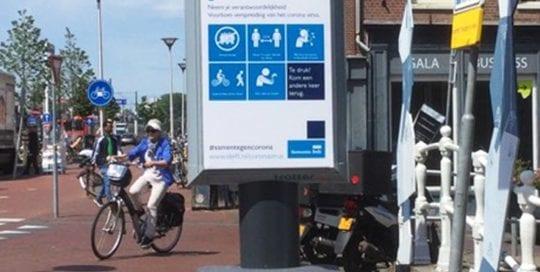 Waarschuwingsborden in Delft informatieborden coronaborden 1000x1000