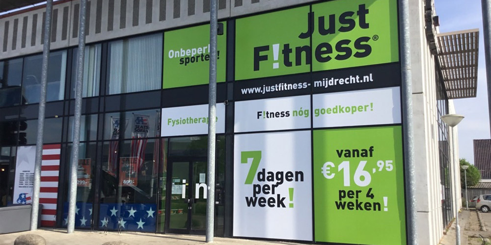fitness marketing gevelreclame raamfolie just fitness sportschool mijdrecht 1000x500