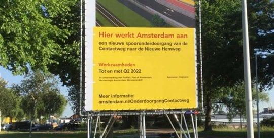 bouwbord bij wegwerkzaamheden gemeente amsterdam frame image building 1000x1000