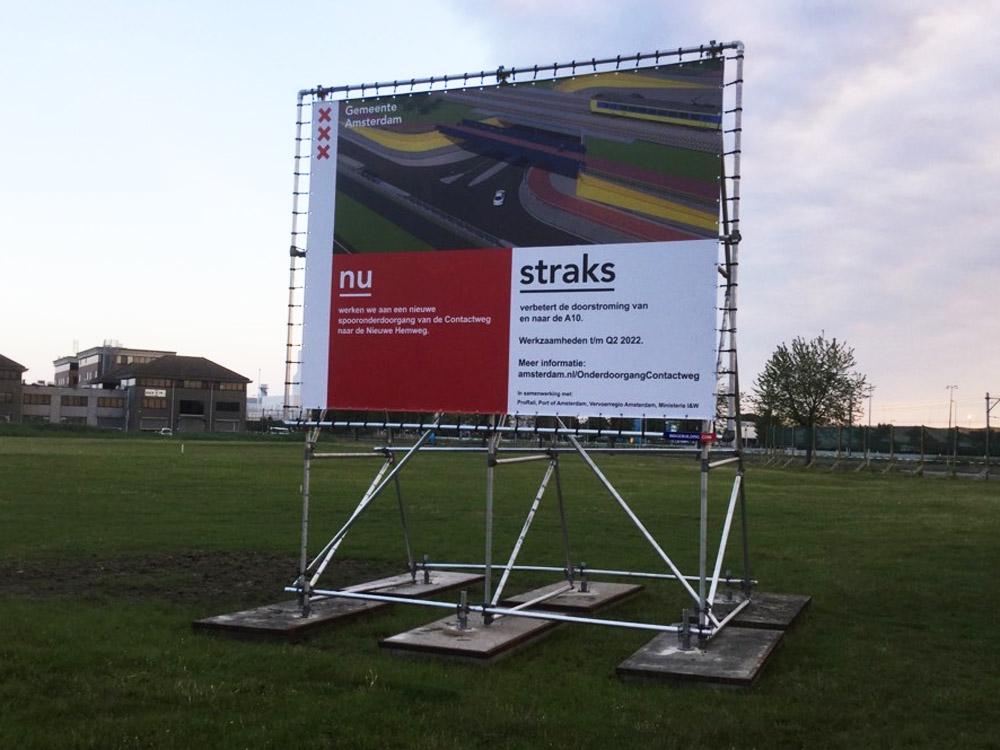 bouwbord bij wegwerkzaamheden gemeente amsterdam frame image building
