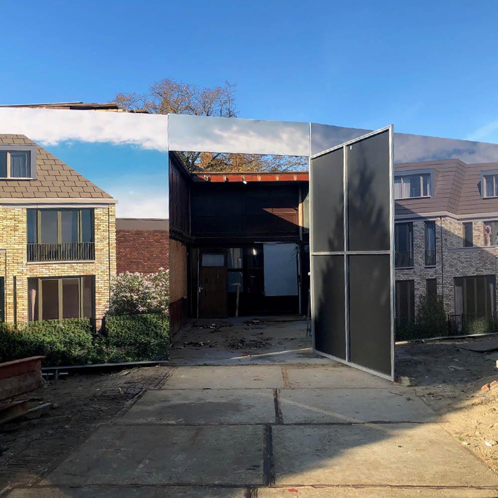 Blindframe modulaire bouwschutting met deur bouwborden 1000x1000