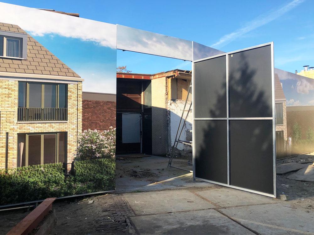 Blindframe modulaire bouwschutting met deur bouwborden 1000x750