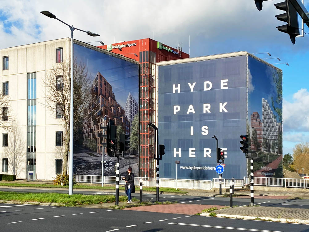 Hyde park is here buizenframes gevelreclame amsterdam image building 1000x750