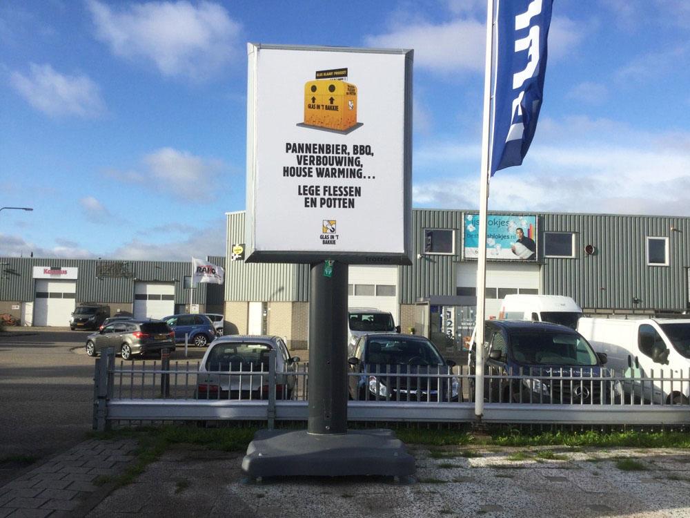 Glas in't bakkie campagne Trotter billboard overheid communicatie 1000x750